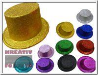 Glitzer Party Hut / Zylinder 10 Stk. in versch. Farben